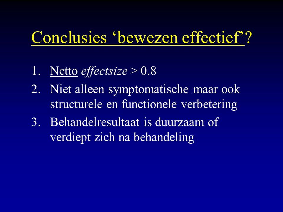Conclusies 'bewezen effectief'? 1.Netto effectsize > 0.8 2.Niet alleen symptomatische maar ook structurele en functionele verbetering 3.Behandelresult