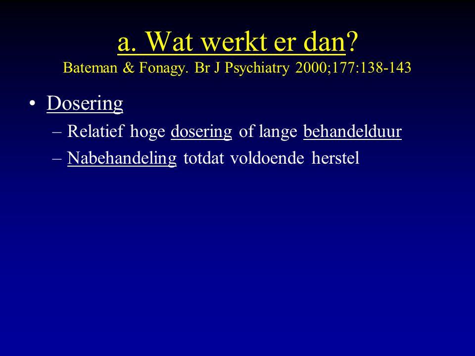 a. Wat werkt er dan? Bateman & Fonagy. Br J Psychiatry 2000;177:138-143 Dosering –Relatief hoge dosering of lange behandelduur –Nabehandeling totdat v
