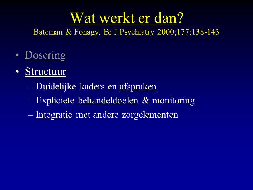 Wat werkt er dan? Bateman & Fonagy. Br J Psychiatry 2000;177:138-143 Dosering Structuur –Duidelijke kaders en afspraken –Expliciete behandeldoelen & m