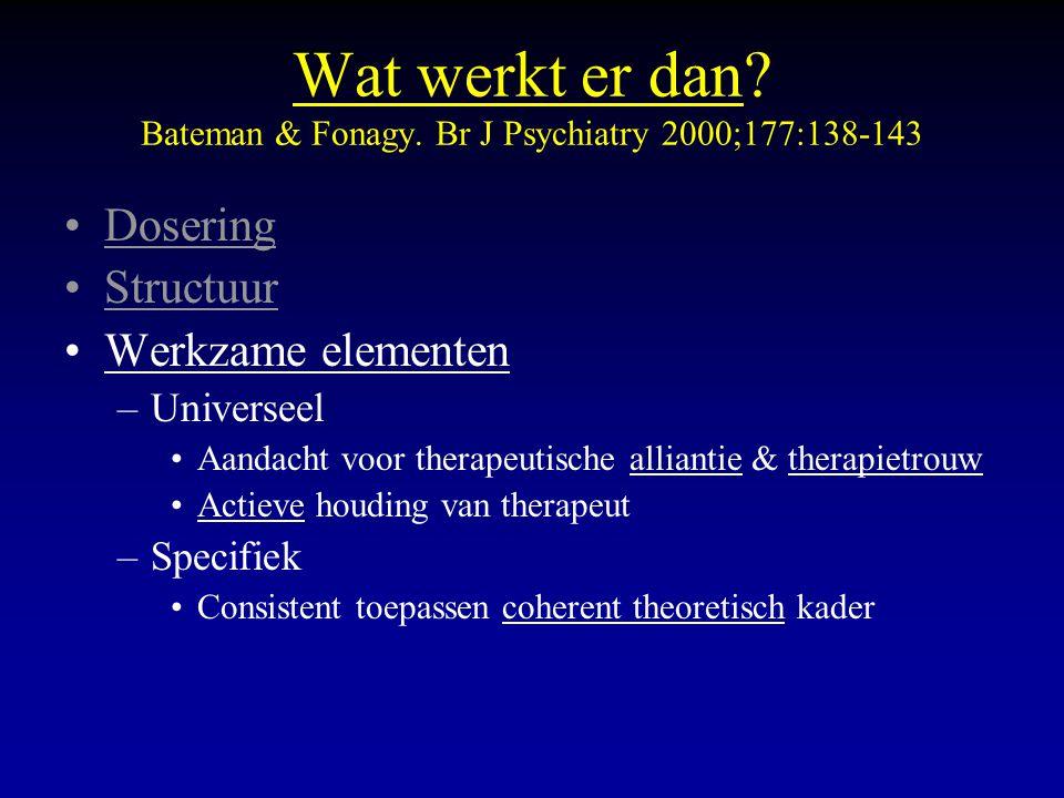 Wat werkt er dan? Bateman & Fonagy. Br J Psychiatry 2000;177:138-143 Dosering Structuur Werkzame elementen –Universeel Aandacht voor therapeutische al