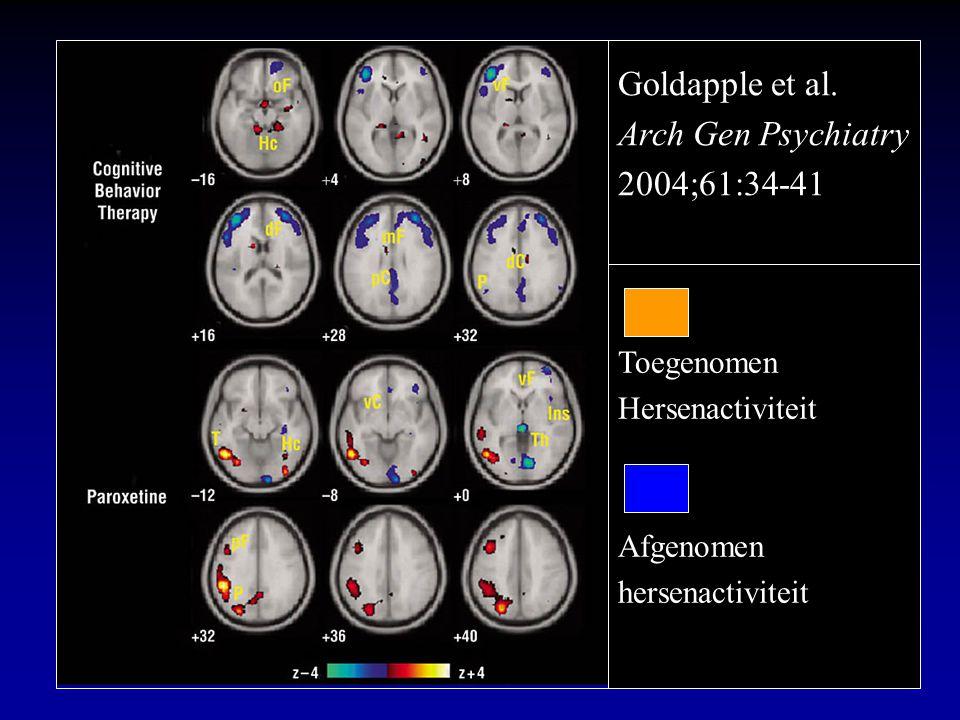 Goldapple et al. Arch Gen Psychiatry 2004;61:34-41 Toegenomen Hersenactiviteit Afgenomen hersenactiviteit