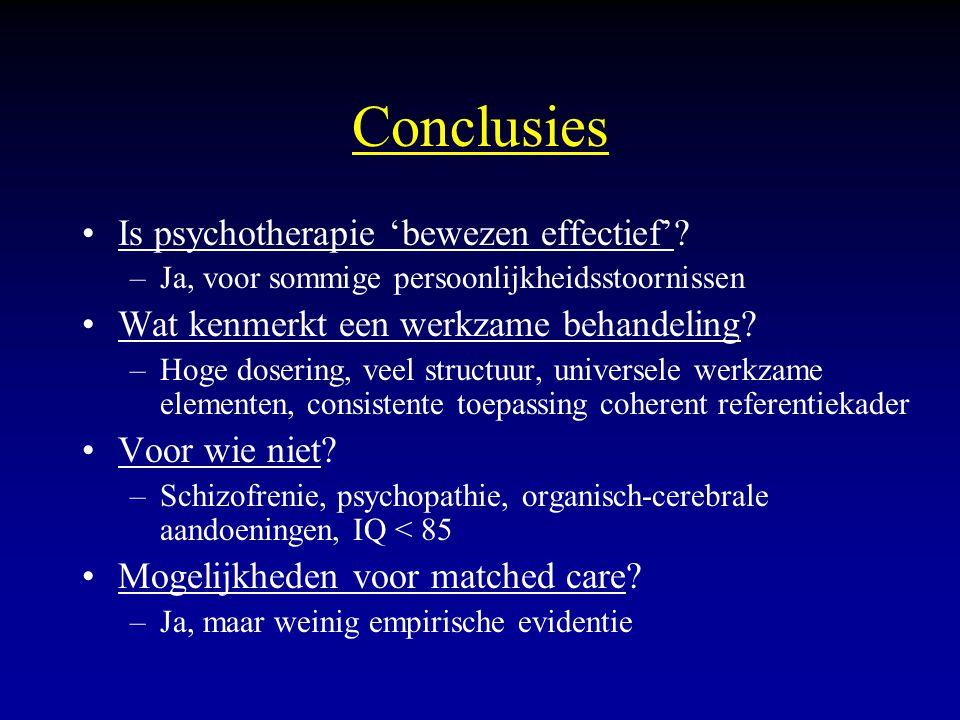 Conclusies Is psychotherapie 'bewezen effectief'? –Ja, voor sommige persoonlijkheidsstoornissen Wat kenmerkt een werkzame behandeling? –Hoge dosering,