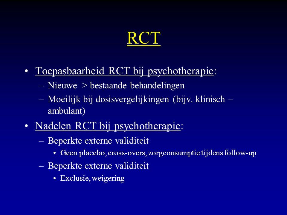 RCT Toepasbaarheid RCT bij psychotherapie: –Nieuwe > bestaande behandelingen –Moeilijk bij dosisvergelijkingen (bijv. klinisch – ambulant) Nadelen RCT