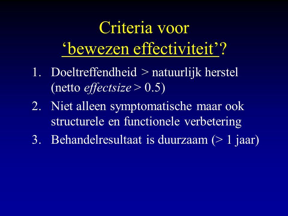 Criteria voor 'bewezen effectiviteit'? 1.Doeltreffendheid > natuurlijk herstel (netto effectsize > 0.5) 2.Niet alleen symptomatische maar ook structur