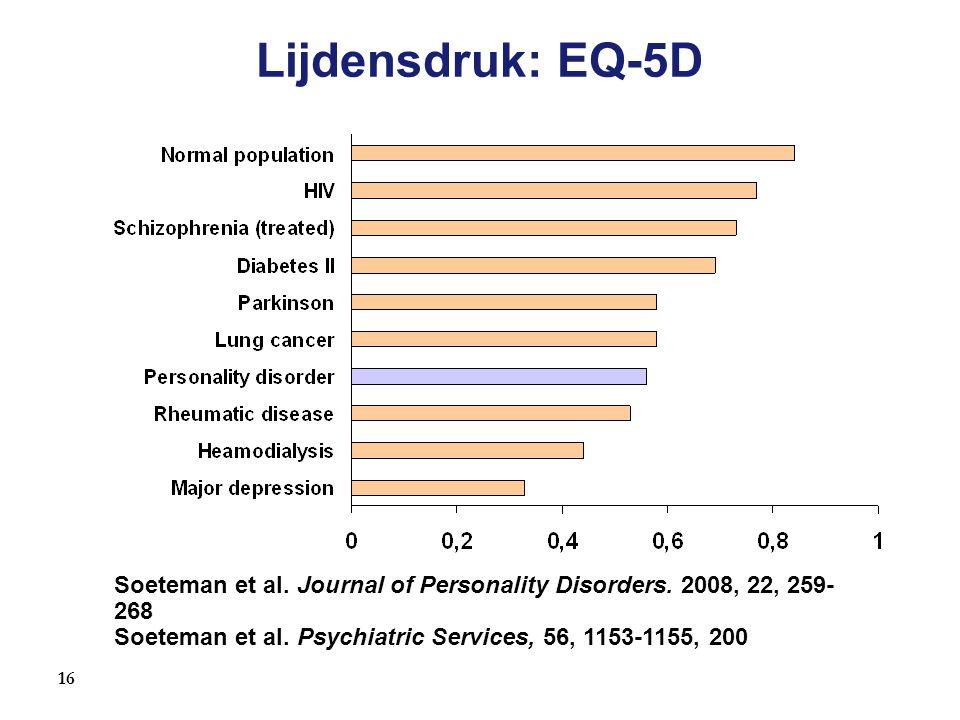 16 Lijdensdruk: EQ-5D Soeteman et al. Journal of Personality Disorders. 2008, 22, 259- 268 Soeteman et al. Psychiatric Services, 56, 1153-1155, 200