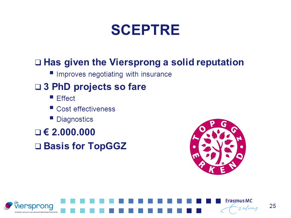 SCEPTRE  Has given the Viersprong a solid reputation  Improves negotiating with insurance  3 PhD projects so fare  Effect  Cost effectiveness  D