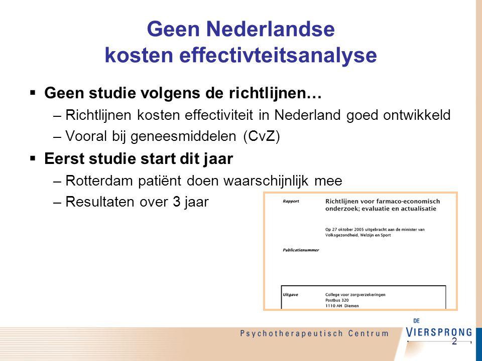 2 Geen Nederlandse kosten effectivteitsanalyse  Geen studie volgens de richtlijnen… –Richtlijnen kosten effectiviteit in Nederland goed ontwikkeld –Vooral bij geneesmiddelen (CvZ)  Eerst studie start dit jaar –Rotterdam patiënt doen waarschijnlijk mee –Resultaten over 3 jaar