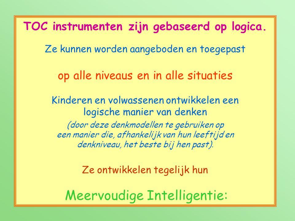 TOC instrumenten zijn gebaseerd op logica. Ze kunnen worden aangeboden en toegepast op alle niveaus en in alle situaties Kinderen en volwassenen ontwi