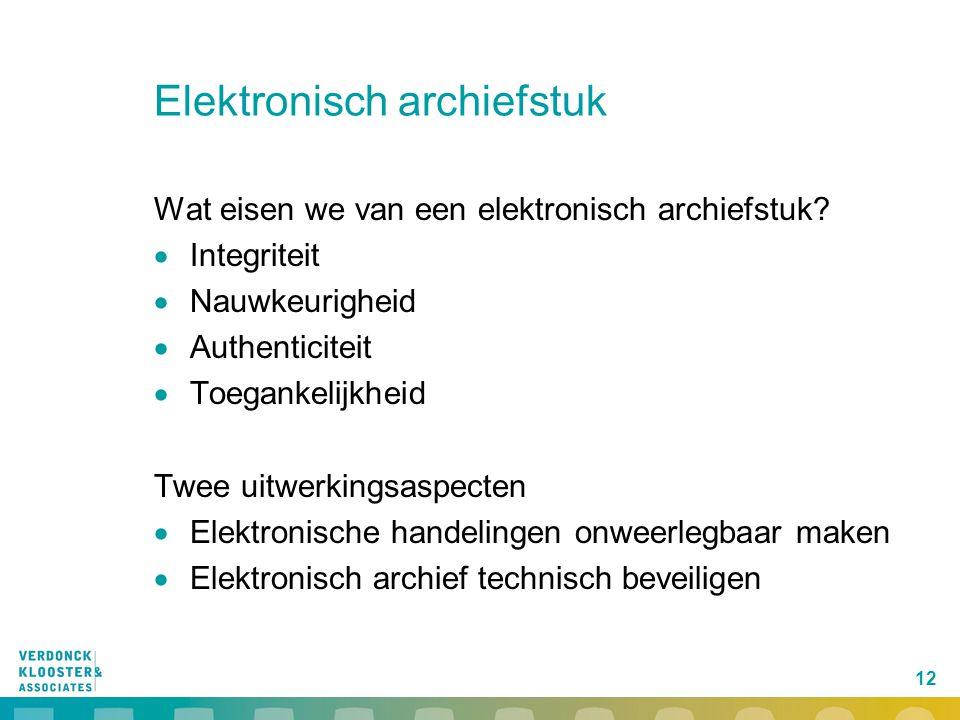 12 Elektronisch archiefstuk Wat eisen we van een elektronisch archiefstuk?  Integriteit  Nauwkeurigheid  Authenticiteit  Toegankelijkheid Twee uit