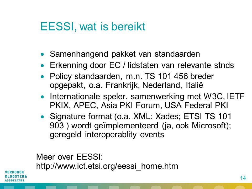 14 EESSI, wat is bereikt  Samenhangend pakket van standaarden  Erkenning door EC / lidstaten van relevante stnds  Policy standaarden, m.n.