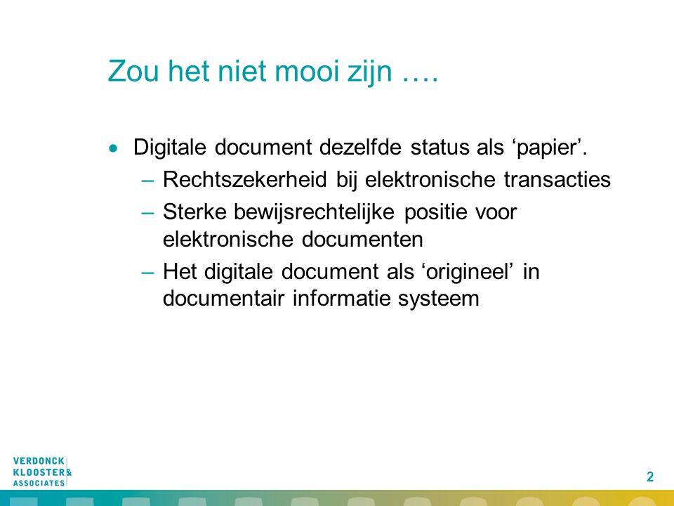 2 Zou het niet mooi zijn ….  Digitale document dezelfde status als 'papier'. –Rechtszekerheid bij elektronische transacties –Sterke bewijsrechtelijke