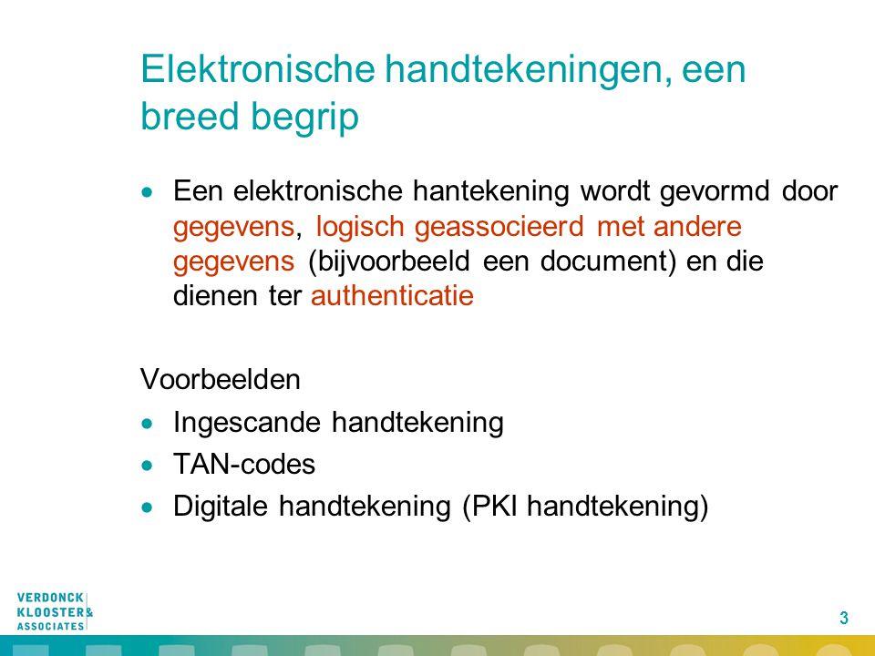 3 Elektronische handtekeningen, een breed begrip  Een elektronische hantekening wordt gevormd door gegevens, logisch geassocieerd met andere gegevens (bijvoorbeeld een document) en die dienen ter authenticatie Voorbeelden  Ingescande handtekening  TAN-codes  Digitale handtekening (PKI handtekening)