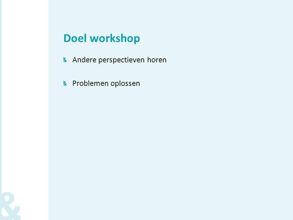 Doel workshop Andere perspectieven horen Problemen oplossen
