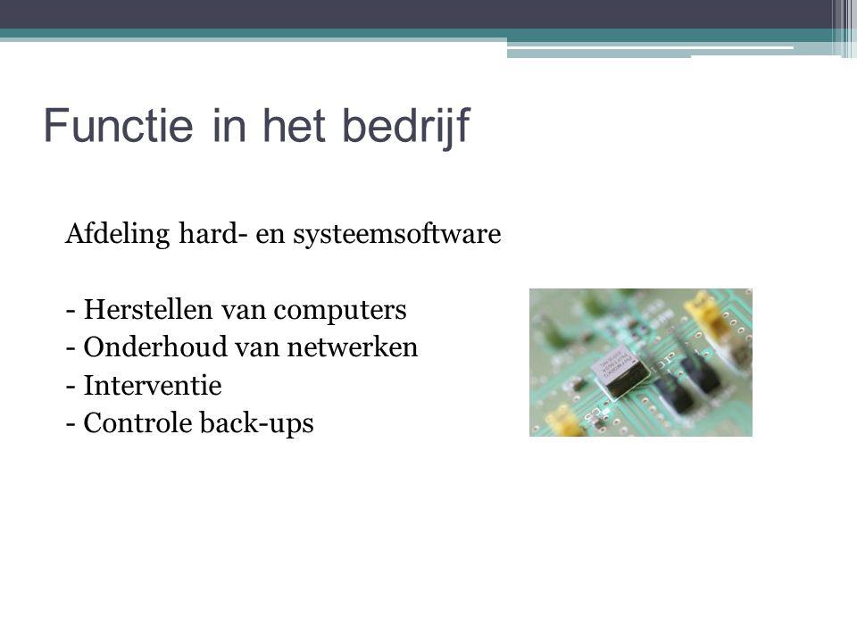 Functie in het bedrijf Afdeling hard- en systeemsoftware - Herstellen van computers - Onderhoud van netwerken - Interventie - Controle back-ups