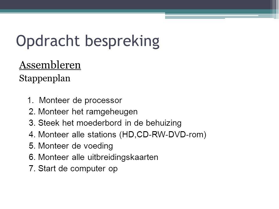 Opdracht bespreking Assembleren Stappenplan 1. Monteer de processor 2.