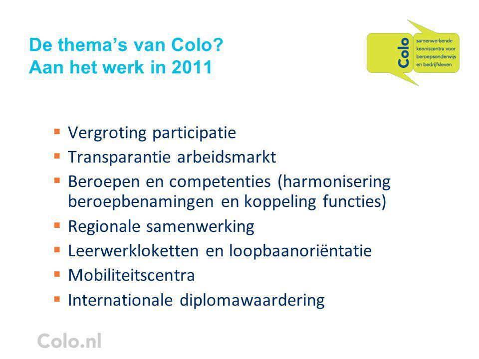 De thema's van Colo.