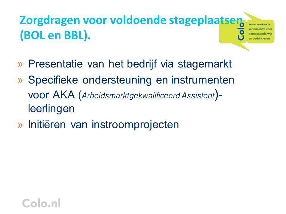 Zorgdragen voor voldoende stageplaatsen (BOL en BBL).
