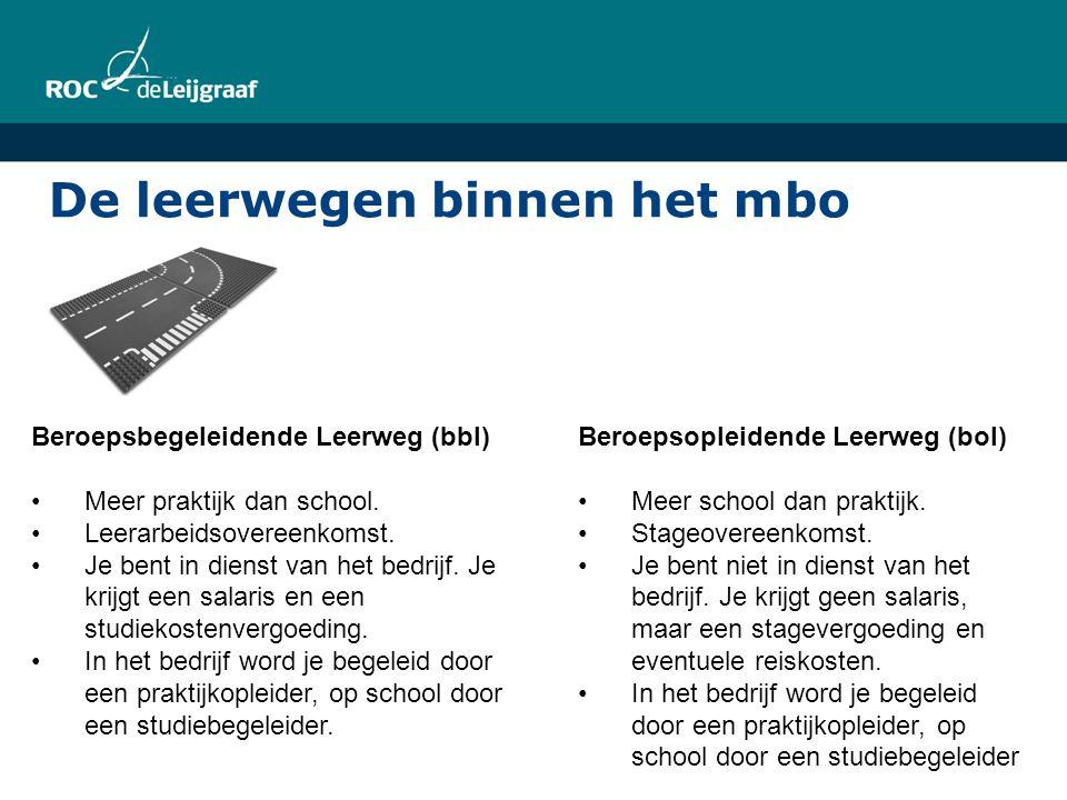 De leerwegen binnen het mbo Beroepsbegeleidende Leerweg (bbl) Meer praktijk dan school. Leerarbeidsovereenkomst. Je bent in dienst van het bedrijf. Je