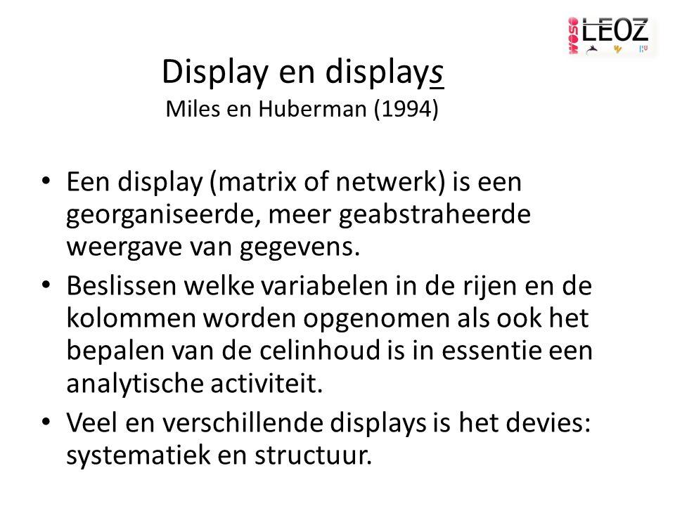 Display en displays Miles en Huberman (1994) Een display (matrix of netwerk) is een georganiseerde, meer geabstraheerde weergave van gegevens.