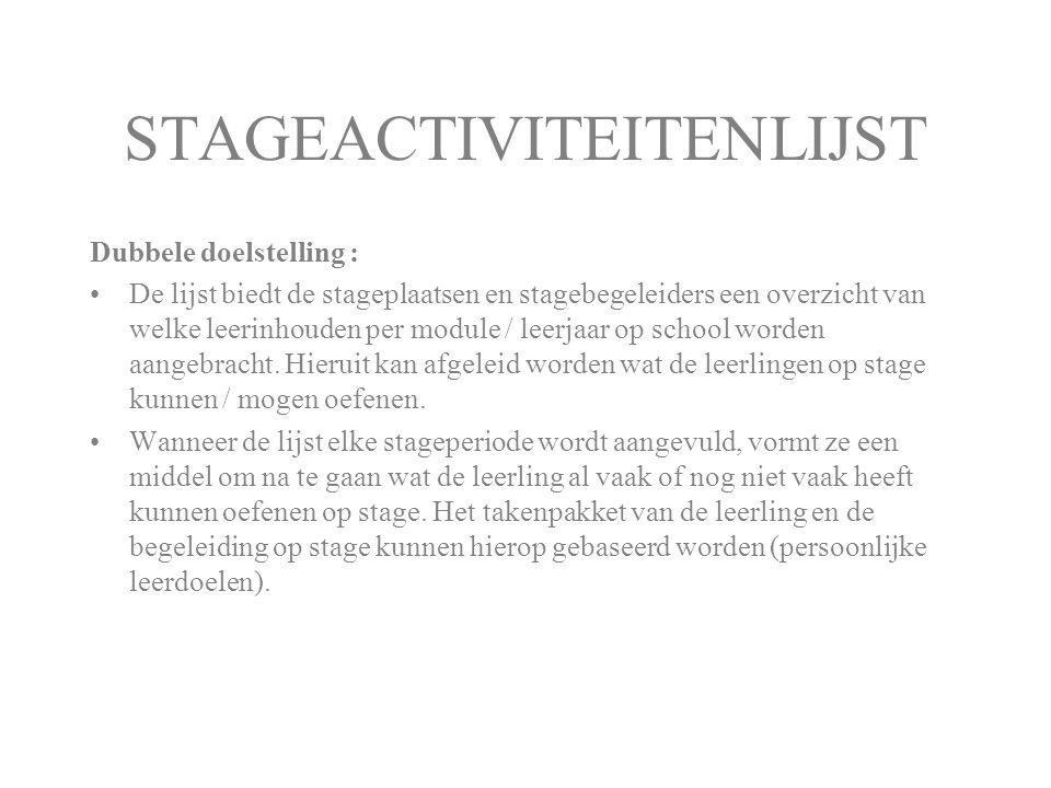 STAGEACTIVITEITENLIJST Dubbele doelstelling : De lijst biedt de stageplaatsen en stagebegeleiders een overzicht van welke leerinhouden per module / le