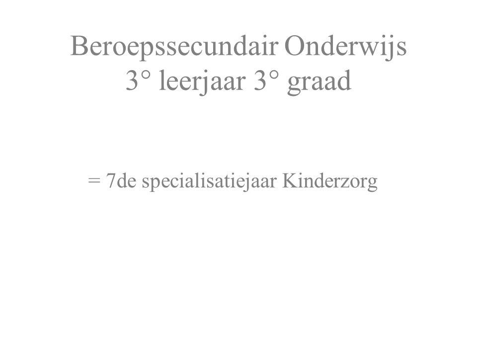 Beroepssecundair Onderwijs 3° leerjaar 3° graad = 7de specialisatiejaar Kinderzorg