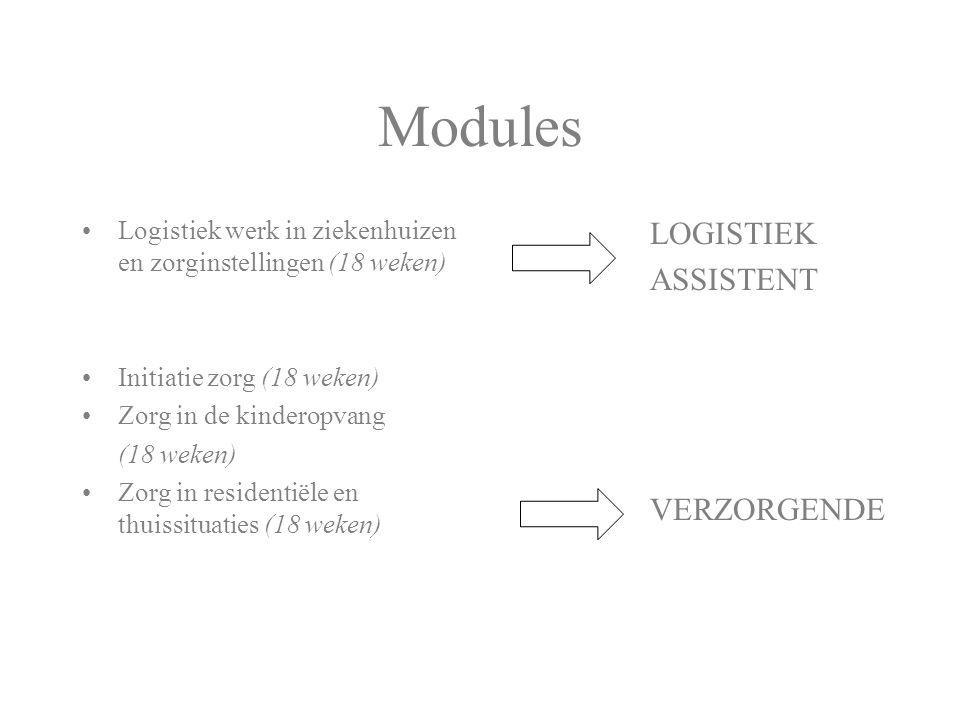 Modules Logistiek werk in ziekenhuizen en zorginstellingen (18 weken) Initiatie zorg (18 weken) Zorg in de kinderopvang (18 weken) Zorg in residentiël