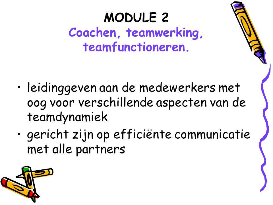 MODULE 2 Coachen, teamwerking, teamfunctioneren. leidinggeven aan de medewerkers met oog voor verschillende aspecten van de teamdynamiek gericht zijn