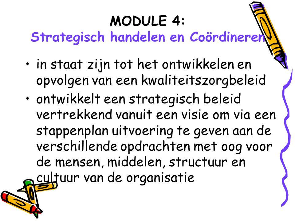MODULE 4: Strategisch handelen en Coördineren in staat zijn tot het ontwikkelen en opvolgen van een kwaliteitszorgbeleid ontwikkelt een strategisch be