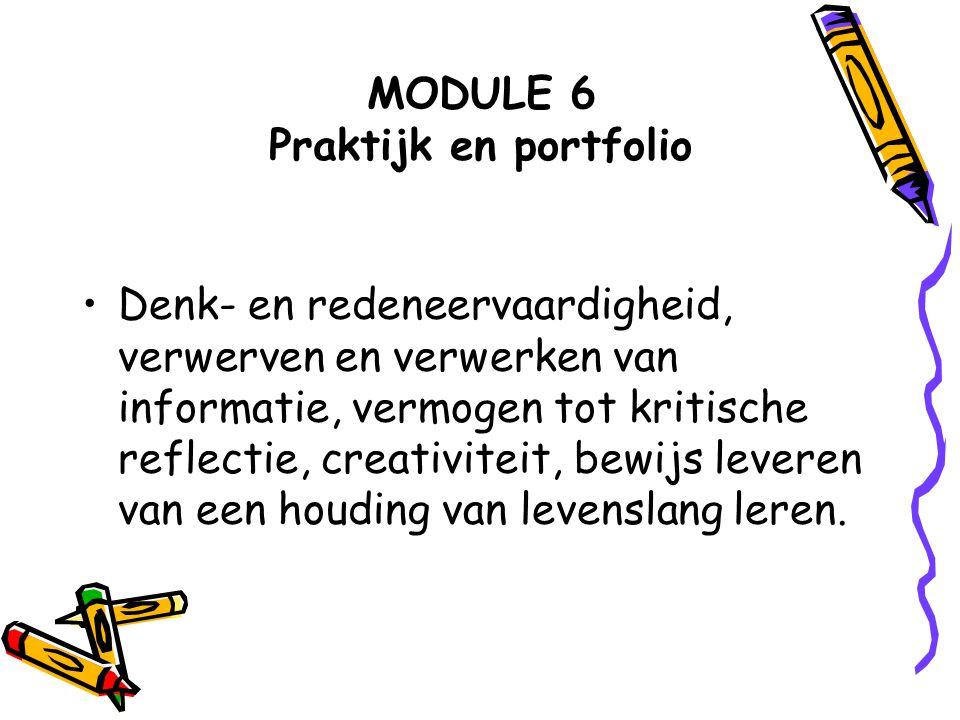 MODULE 6 Praktijk en portfolio Denk- en redeneervaardigheid, verwerven en verwerken van informatie, vermogen tot kritische reflectie, creativiteit, be