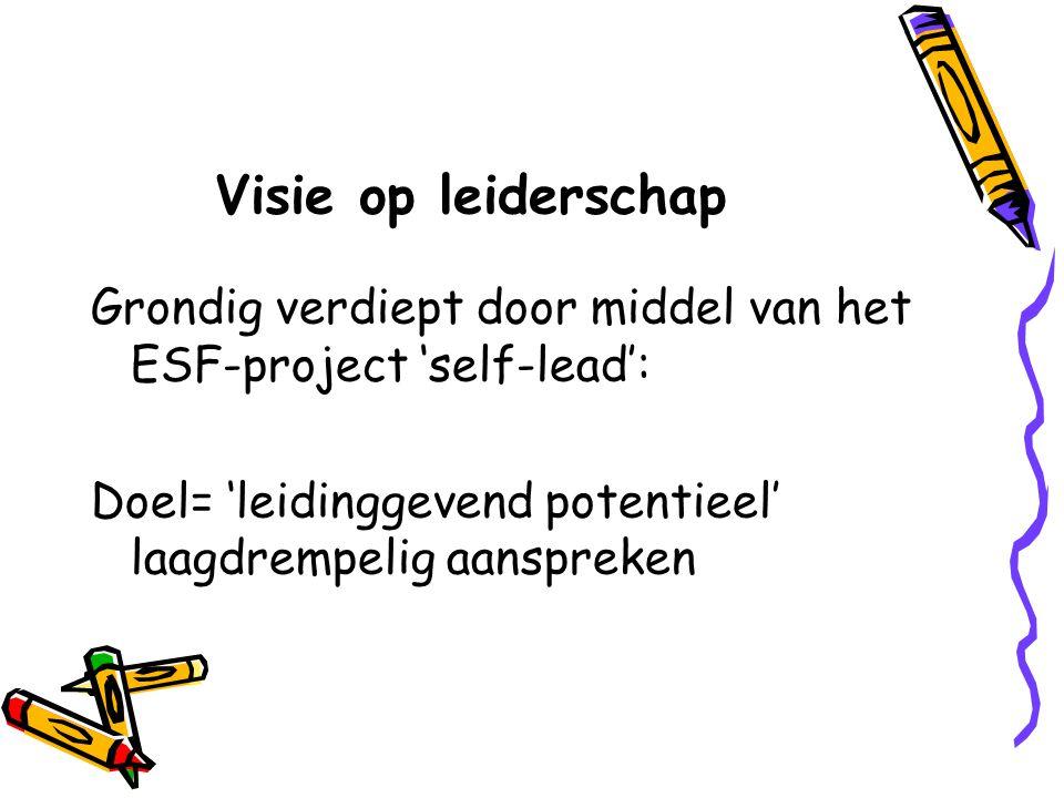 Visie op leiderschap Grondig verdiept door middel van het ESF-project 'self-lead': Doel= 'leidinggevend potentieel' laagdrempelig aanspreken