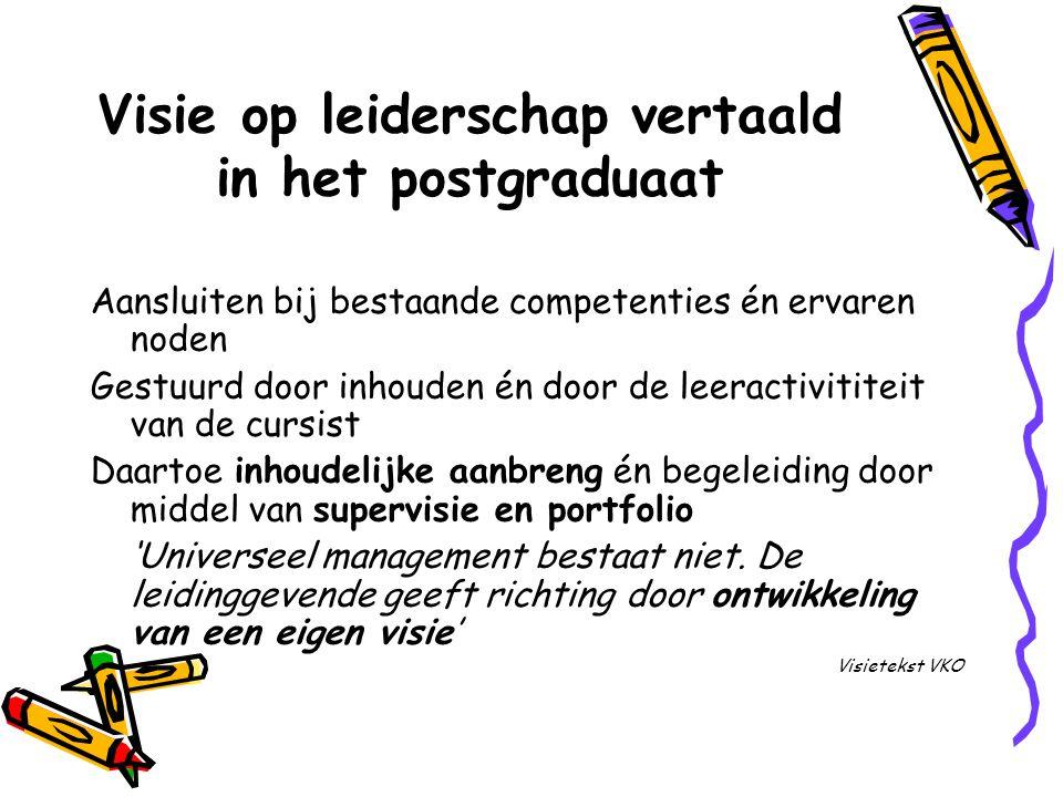 Visie op leiderschap vertaald in het postgraduaat Aansluiten bij bestaande competenties én ervaren noden Gestuurd door inhouden én door de leeractivit