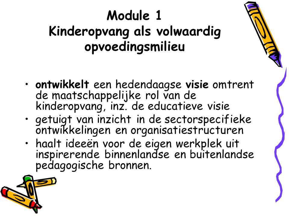 Module 1 Kinderopvang als volwaardig opvoedingsmilieu ontwikkelt een hedendaagse visie omtrent de maatschappelijke rol van de kinderopvang, inz. de ed
