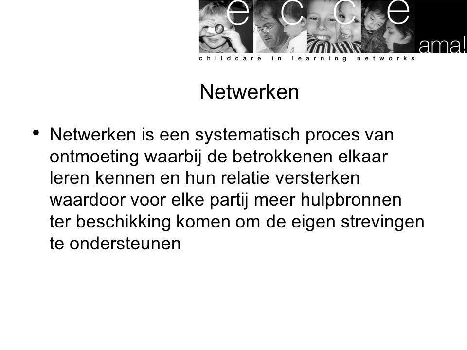 Netwerken Netwerken is een systematisch proces van ontmoeting waarbij de betrokkenen elkaar leren kennen en hun relatie versterken waardoor voor elke partij meer hulpbronnen ter beschikking komen om de eigen strevingen te ondersteunen