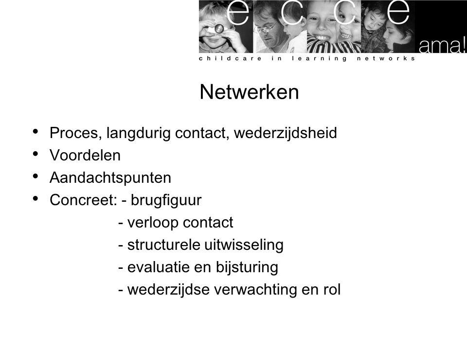 Netwerken Proces, langdurig contact, wederzijdsheid Voordelen Aandachtspunten Concreet: - brugfiguur - verloop contact - structurele uitwisseling - evaluatie en bijsturing - wederzijdse verwachting en rol