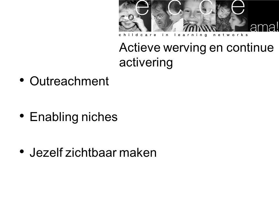 Actieve werving en continue activering Outreachment Enabling niches Jezelf zichtbaar maken