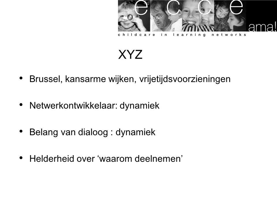 XYZ Brussel, kansarme wijken, vrijetijdsvoorzieningen Netwerkontwikkelaar: dynamiek Belang van dialoog : dynamiek Helderheid over 'waarom deelnemen'