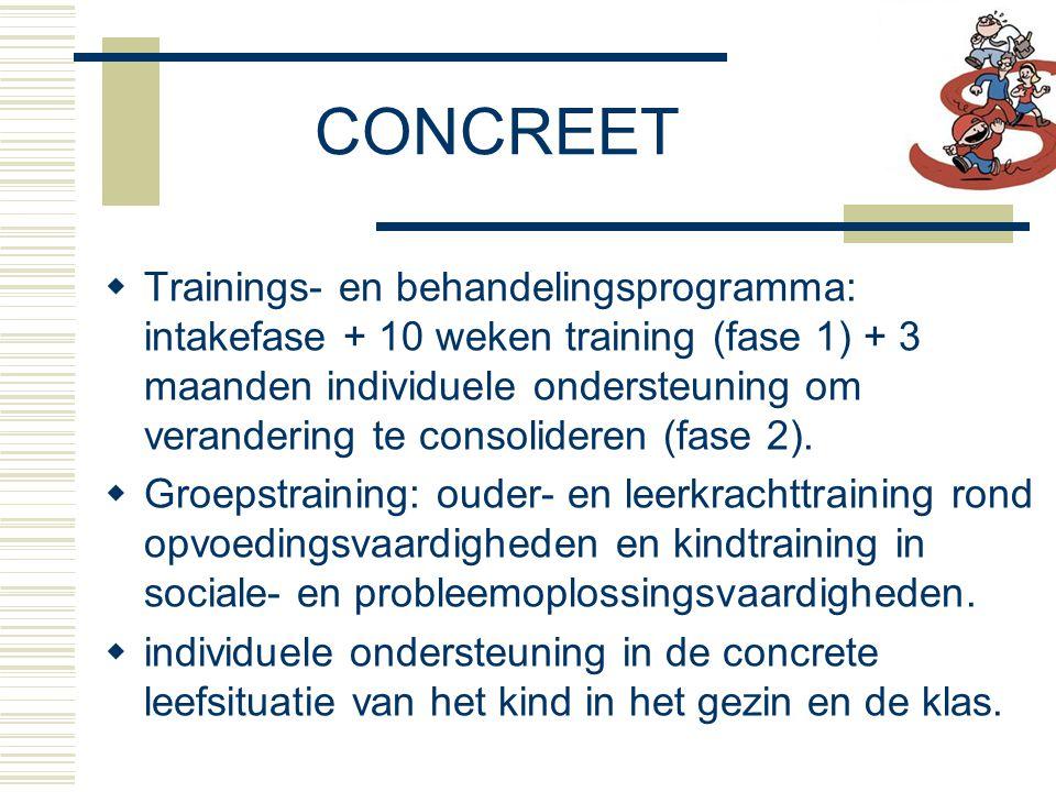 CONCREET  Trainings- en behandelingsprogramma: intakefase + 10 weken training (fase 1) + 3 maanden individuele ondersteuning om verandering te consolideren (fase 2).