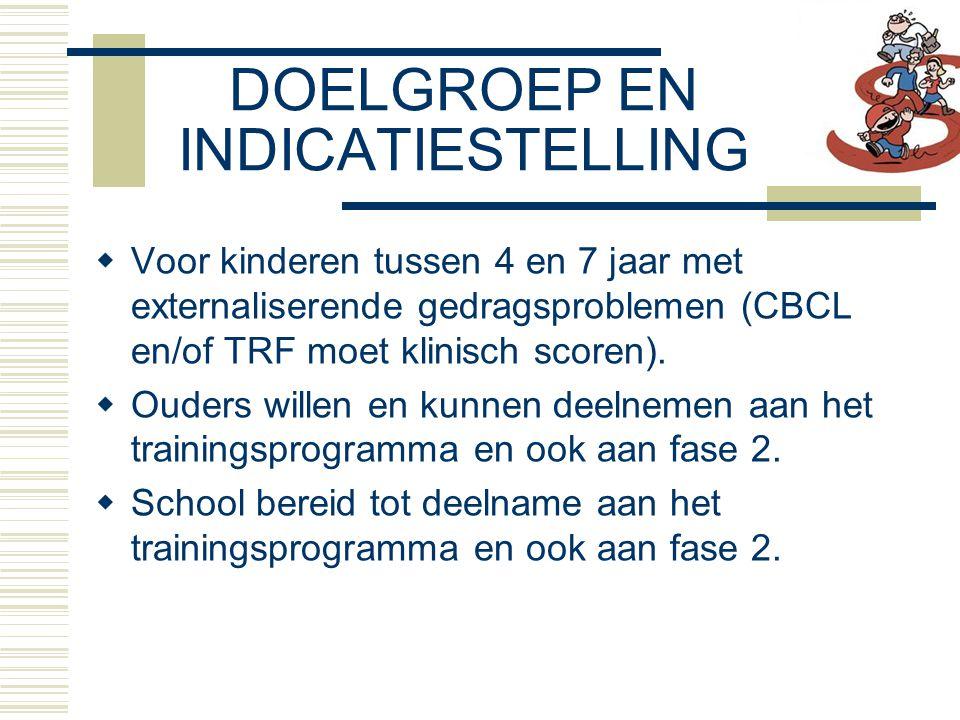 DOELGROEP EN INDICATIESTELLING  Voor kinderen tussen 4 en 7 jaar met externaliserende gedragsproblemen (CBCL en/of TRF moet klinisch scoren).