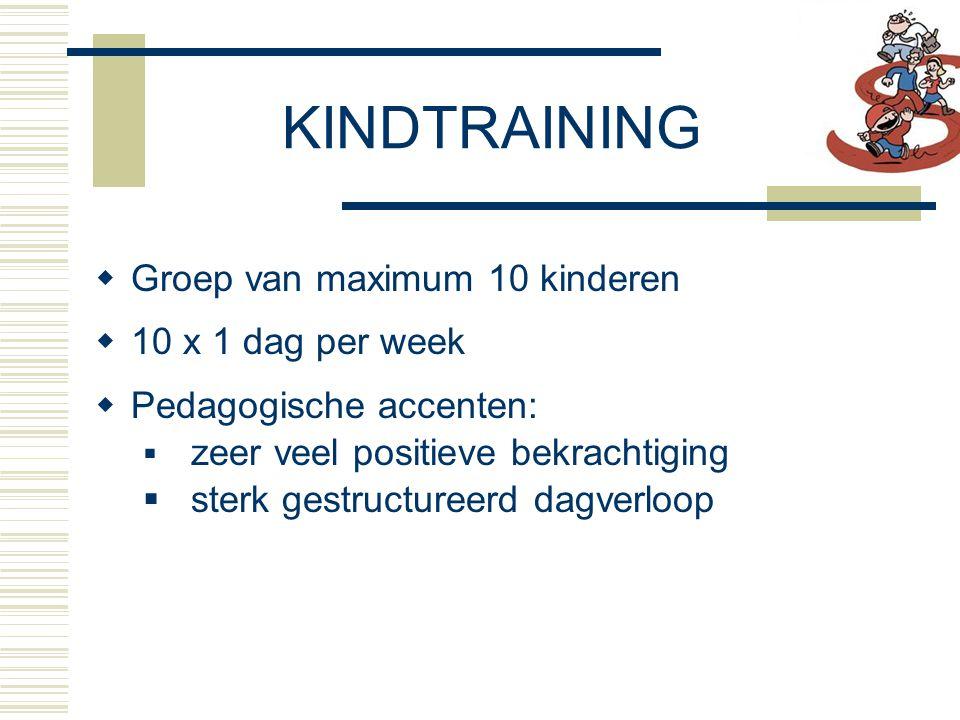  Groep van maximum 10 kinderen  10 x 1 dag per week  Pedagogische accenten:  zeer veel positieve bekrachtiging  sterk gestructureerd dagverloop KINDTRAINING