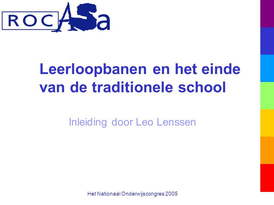 Leerloopbanen en het einde van de traditionele school Inleiding door Leo Lenssen Het Nationaal Onderwijscongres 2005