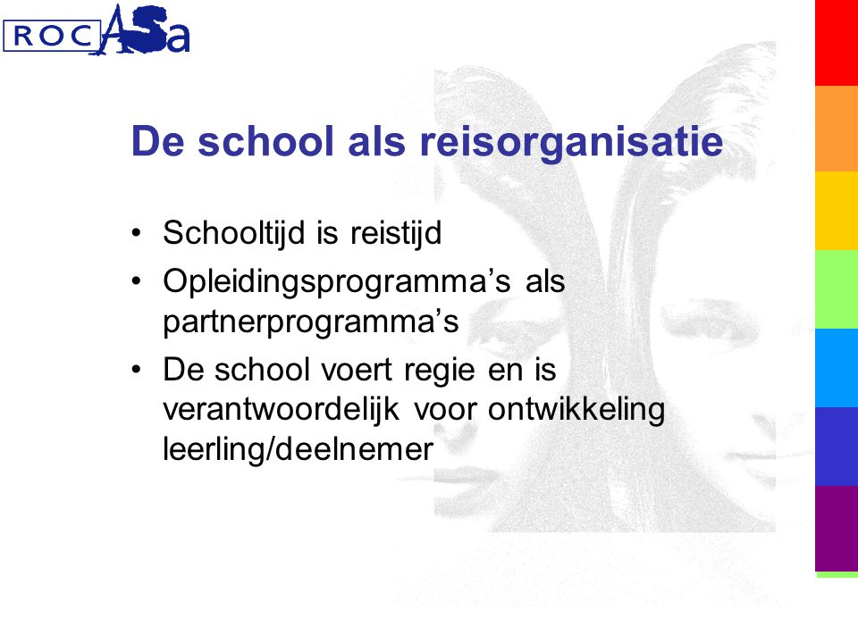 De school als reisorganisatie Schooltijd is reistijd Opleidingsprogramma's als partnerprogramma's De school voert regie en is verantwoordelijk voor ontwikkeling leerling/deelnemer