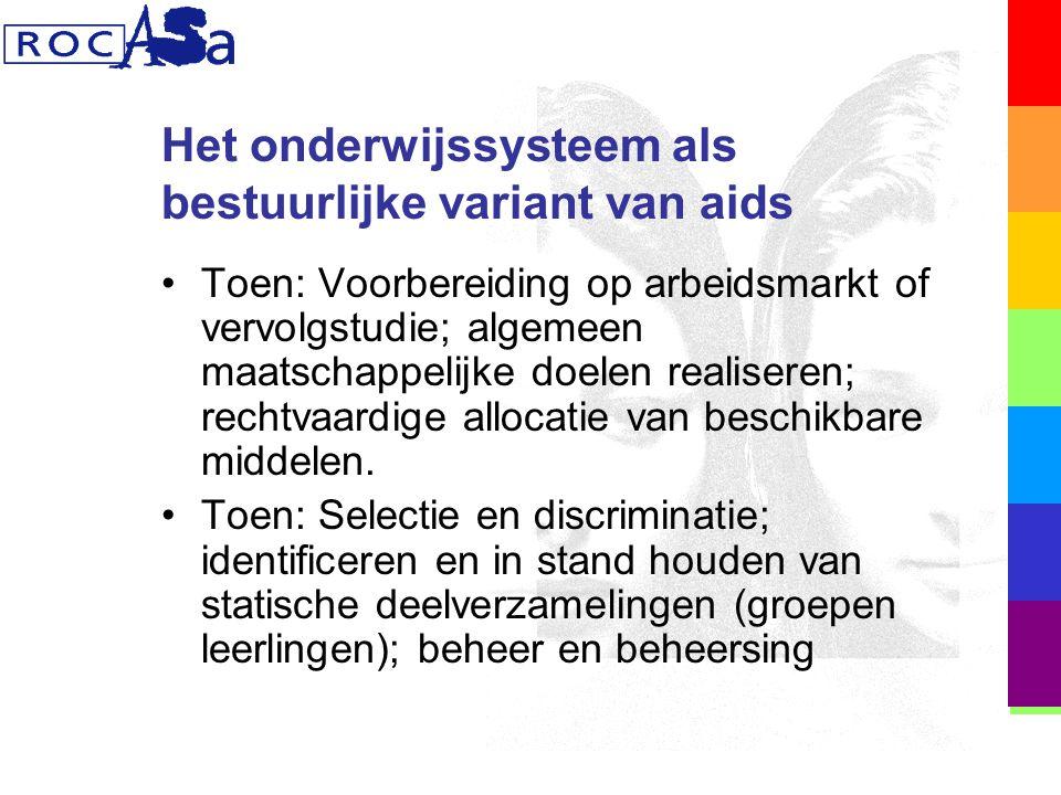 Het onderwijssysteem als bestuurlijke variant van aids Toen: Voorbereiding op arbeidsmarkt of vervolgstudie; algemeen maatschappelijke doelen realiseren; rechtvaardige allocatie van beschikbare middelen.