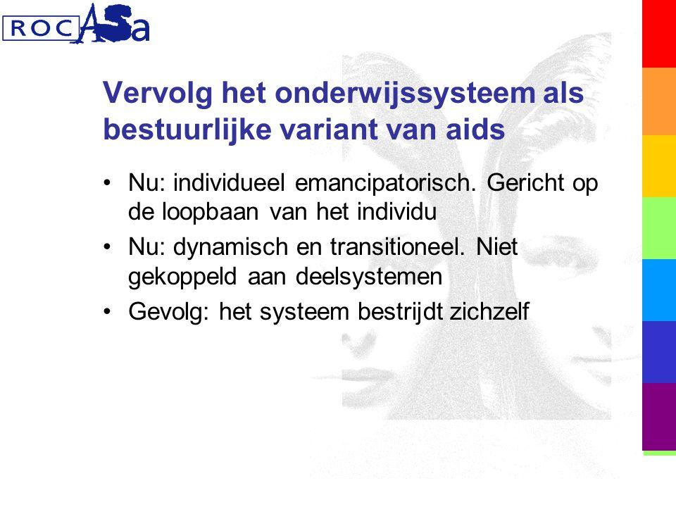 Vervolg het onderwijssysteem als bestuurlijke variant van aids Nu: individueel emancipatorisch.