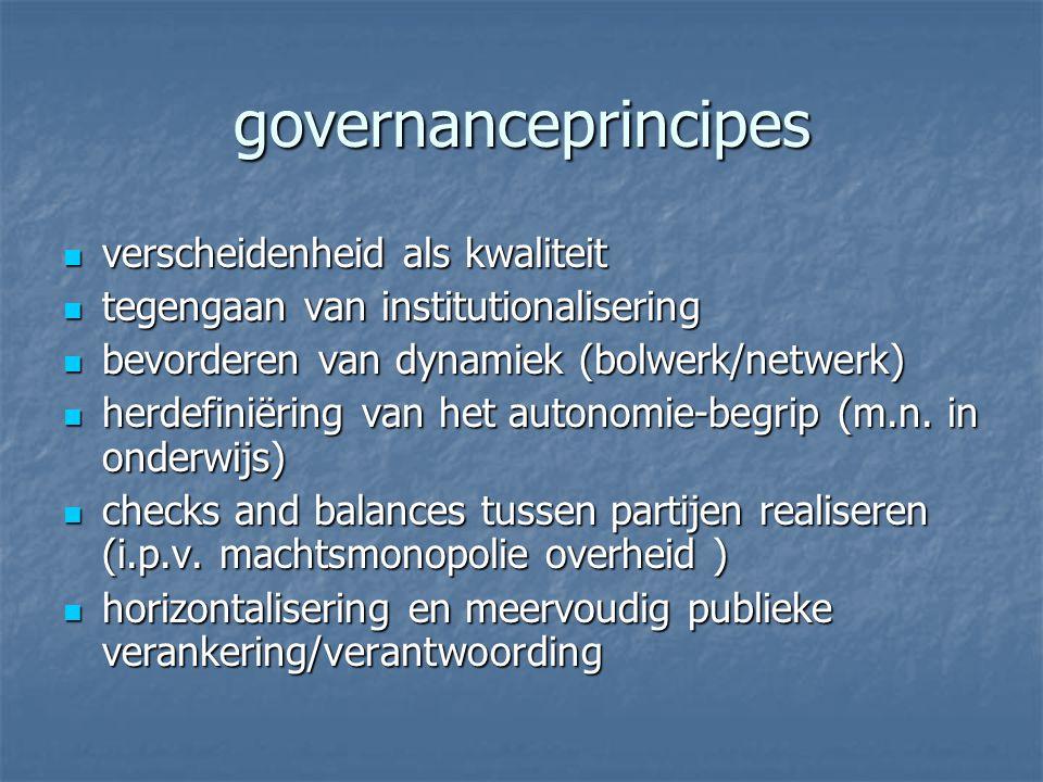 governanceprincipes verscheidenheid als kwaliteit verscheidenheid als kwaliteit tegengaan van institutionalisering tegengaan van institutionalisering