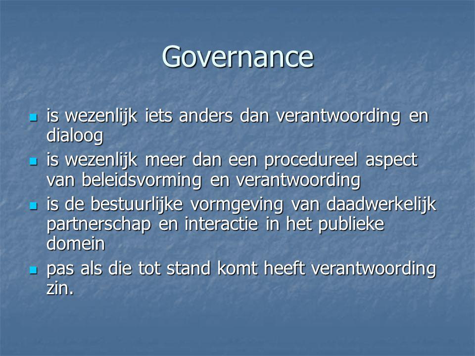 Governance is wezenlijk iets anders dan verantwoording en dialoog is wezenlijk iets anders dan verantwoording en dialoog is wezenlijk meer dan een procedureel aspect van beleidsvorming en verantwoording is wezenlijk meer dan een procedureel aspect van beleidsvorming en verantwoording is de bestuurlijke vormgeving van daadwerkelijk partnerschap en interactie in het publieke domein is de bestuurlijke vormgeving van daadwerkelijk partnerschap en interactie in het publieke domein pas als die tot stand komt heeft verantwoording zin.