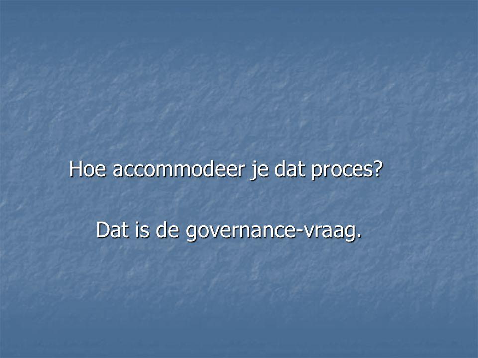 Hoe accommodeer je dat proces Dat is de governance-vraag. Dat is de governance-vraag.