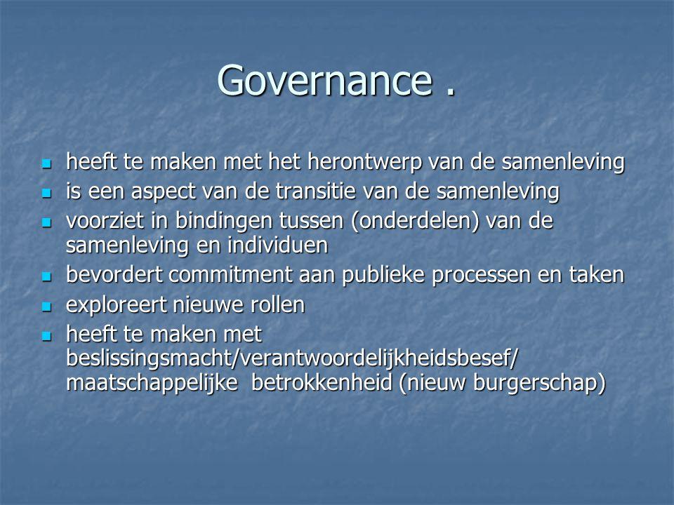 Governance. heeft te maken met het herontwerp van de samenleving heeft te maken met het herontwerp van de samenleving is een aspect van de transitie v