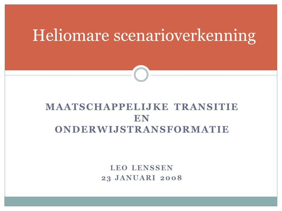MAATSCHAPPELIJKE TRANSITIE EN ONDERWIJSTRANSFORMATIE LEO LENSSEN 23 JANUARI 2008 Heliomare scenarioverkenning
