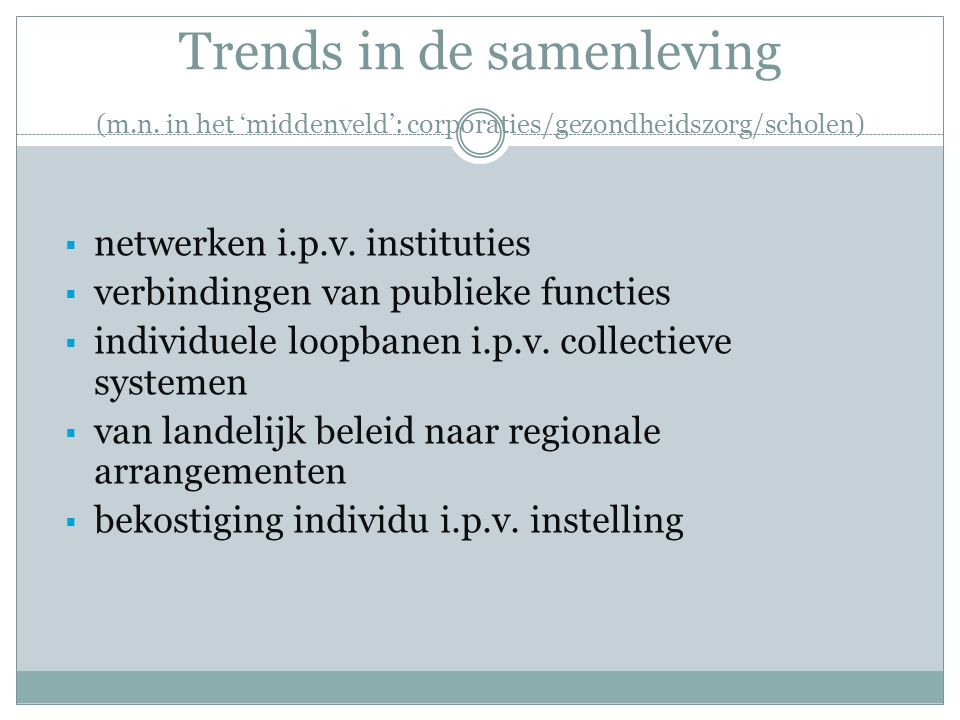 Trends in de samenleving (m.n.