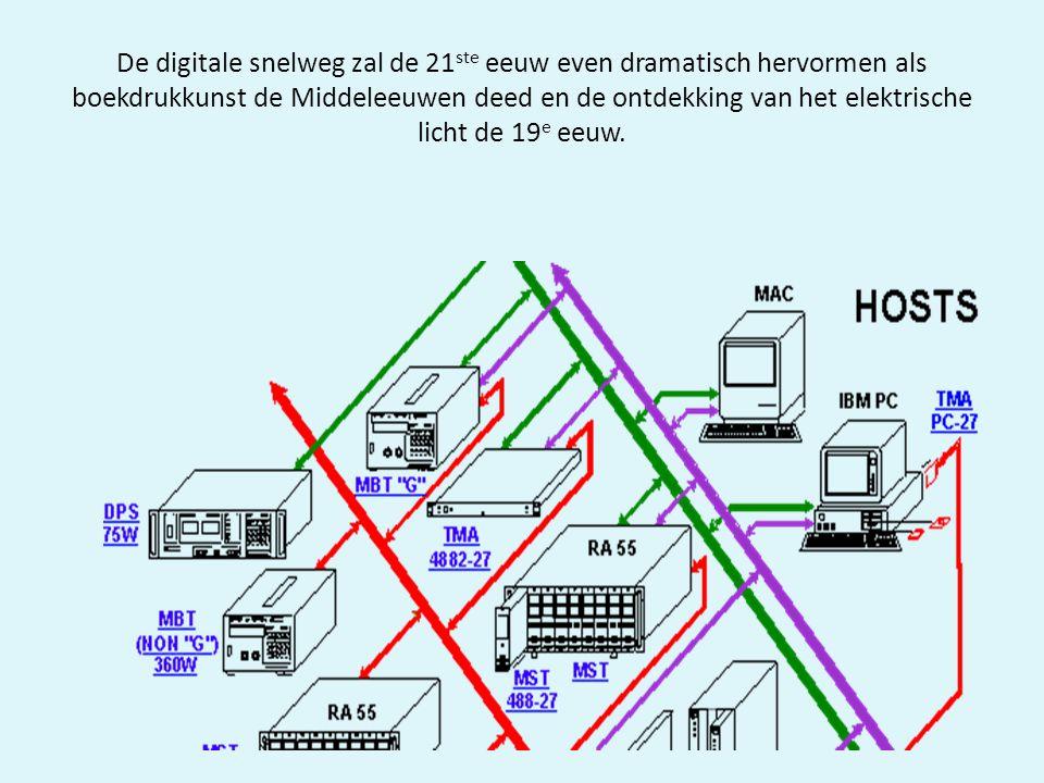 De digitale snelweg zal de 21 ste eeuw even dramatisch hervormen als boekdrukkunst de Middeleeuwen deed en de ontdekking van het elektrische licht de